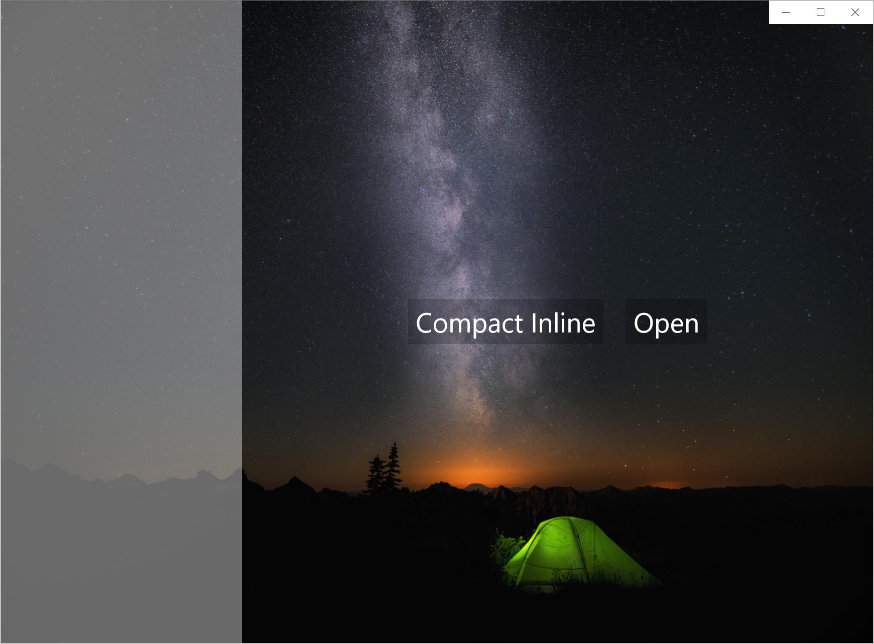 DisplayMode = CompactInline IsPaneOpen = True
