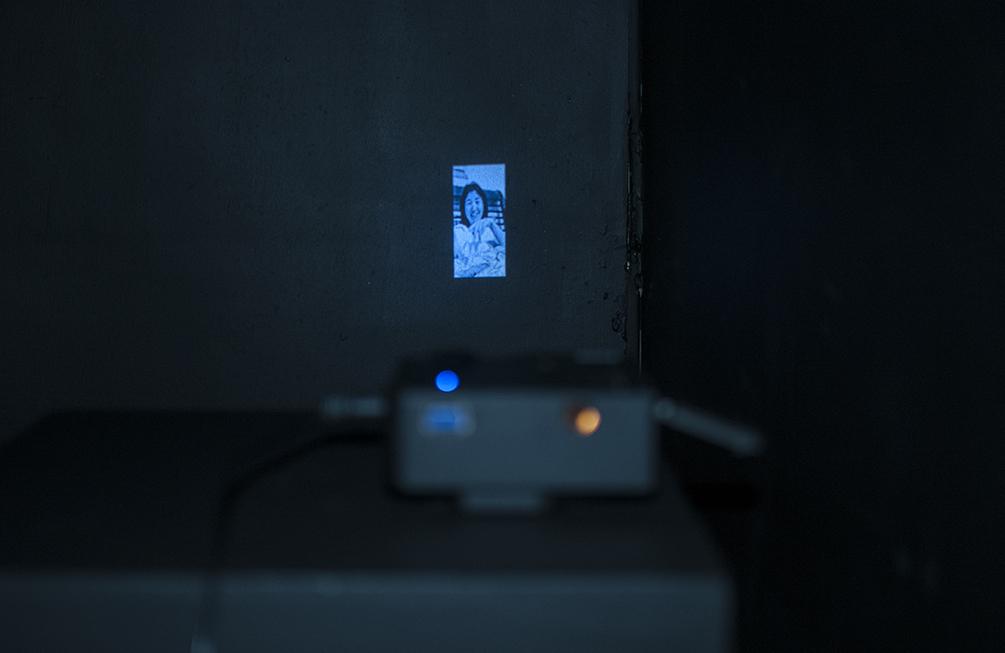 창 chang.  Projection, sound piece in a constructed room 96x125x96 inches.  Installation view.
