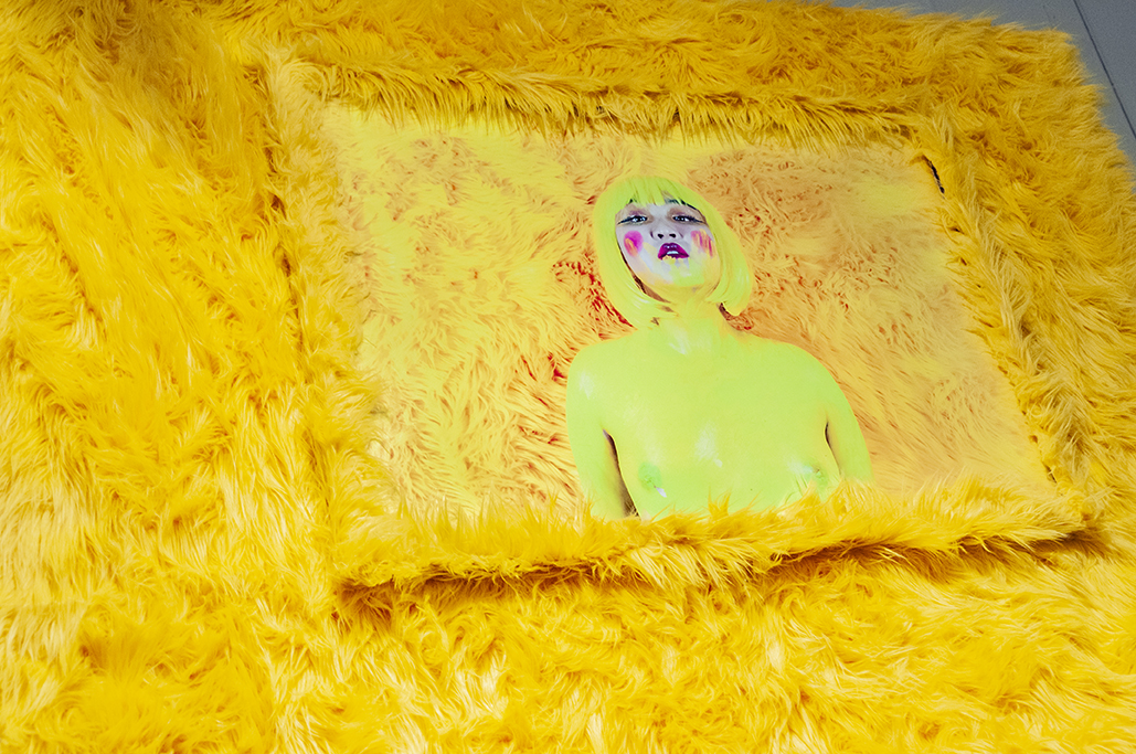 I DARE YOU TO BUY ME I   Photography Installation: Archival prints, yellow shag fur frame, yellow shag fur.  2019 LA Art Show Installation View.