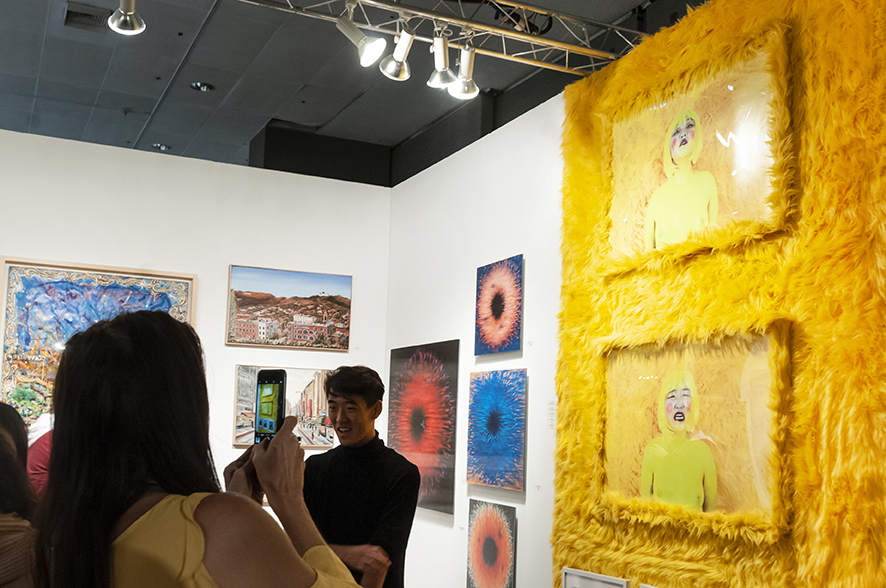I DARE YOU TO BUY ME I & I DARE YOU TO BUY ME II   Photography Installation: Archival prints, yellow shag fur frame, yellow shag fur.  2019 LA Art Show Installation View.