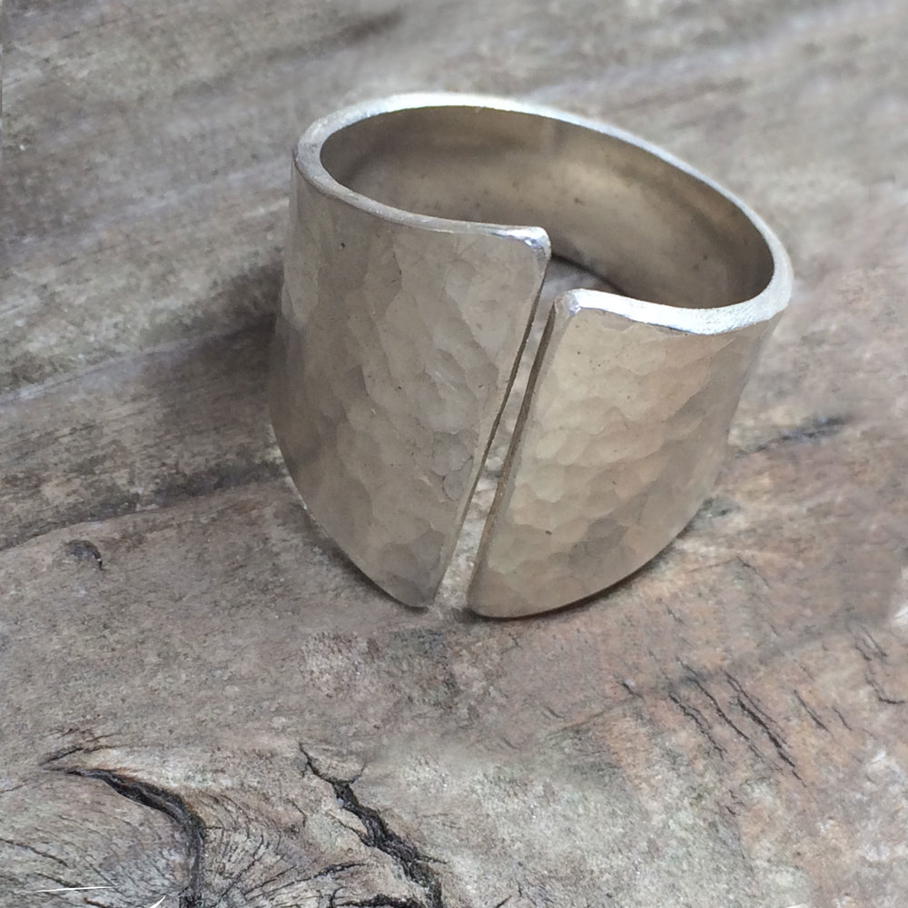 Hammer textured argentium sterling silver rolling rings