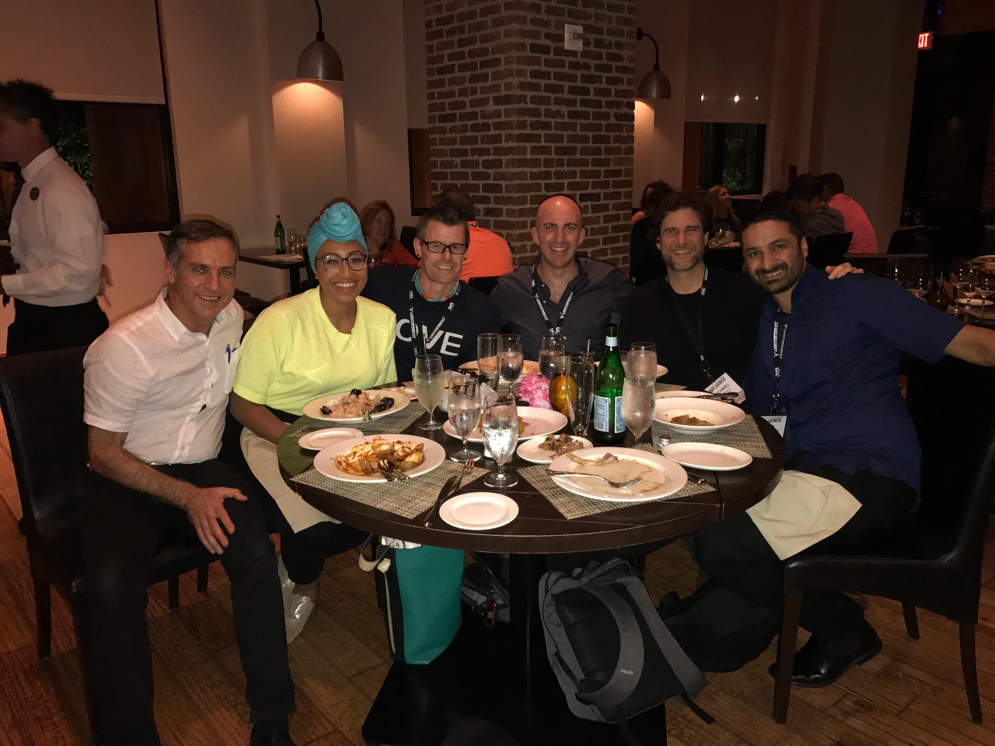 Dinner with: Left to right: Demian Coorey (Futurist Speaker) , Yassmin Abdul-Magied (Activist), Travis Bell (Bucket Lists), Tim Longhurst (Futurist), Michael Margolis (Anthropologist), Sam Cawthorn (Speakers Institute)