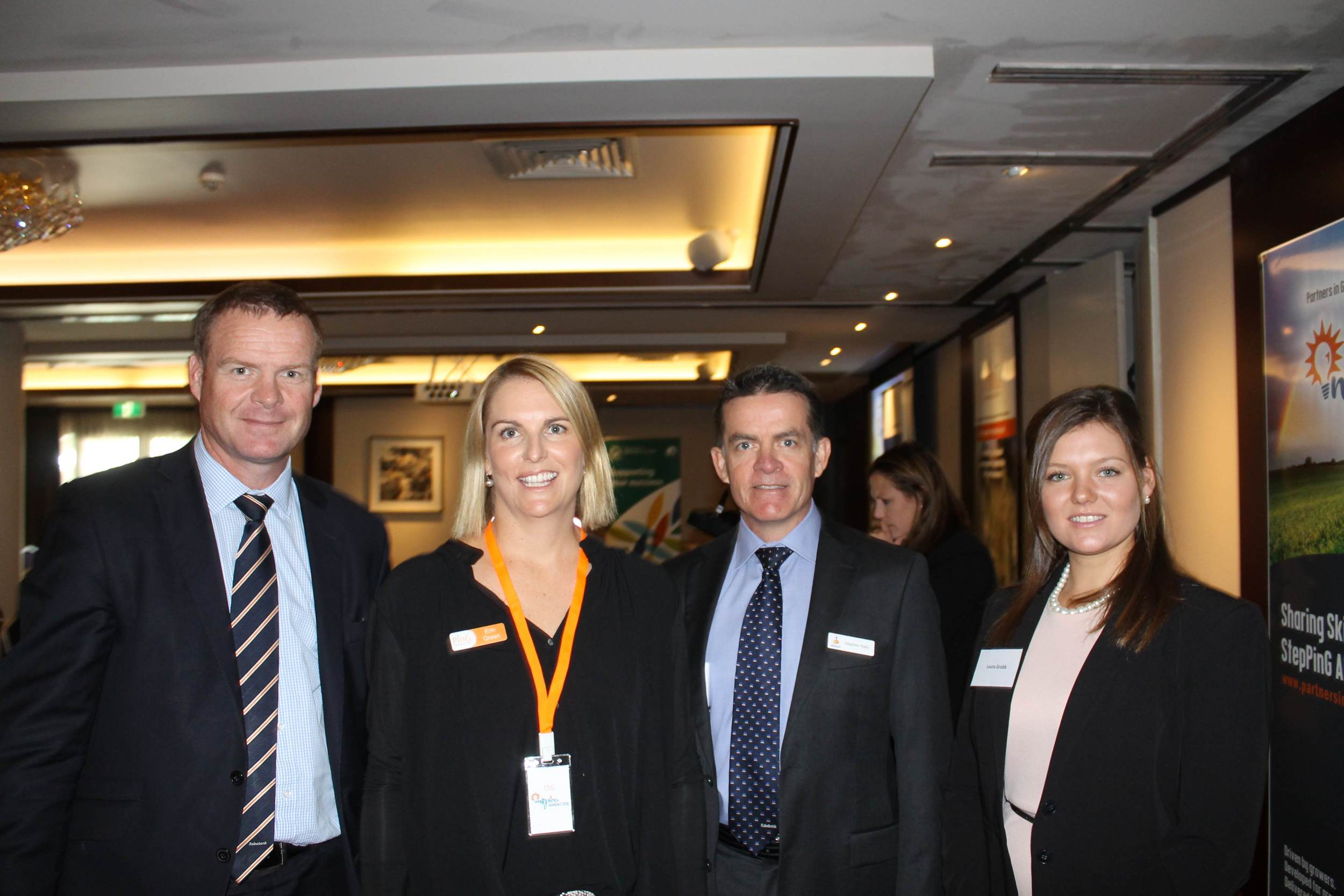 From left: Todd Charteris (national manager of Rabobank); Erin Green (Partners in Grain WA coordinator); Steve Kelly (acting WA manager of Rabobank); and Laura Grubb (speaker, Youth-Ag delegate and WA Agvocate). Picture: Perth Media