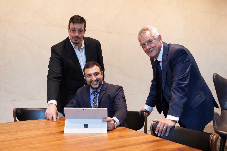 From left:    Ajero Pty Ltd's David McLeod, Farzan Marfatia and Peter Walton