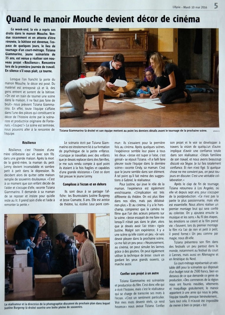 The Swiss regional newspapers  L'ajoie  visited our set in Porrentruy to learn more about my upcoming Swiss American film  Resilience .
