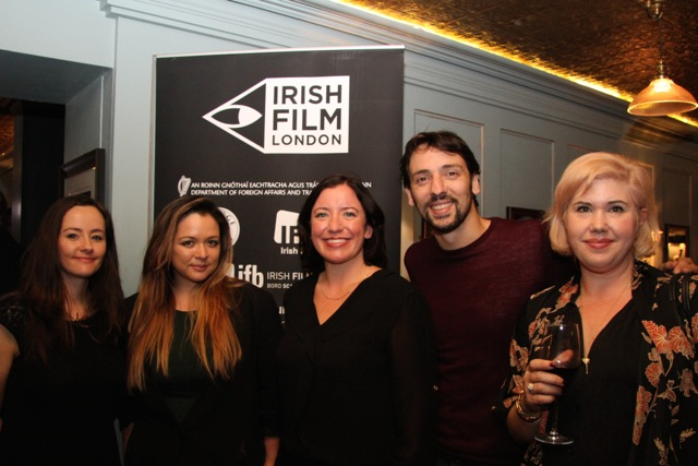 Irish Film Festival London director Kelly O'Connor, Managing Director, LittleRock Pictures, Zoe Rocha, Angela Sammon, actor Ralf Little and Charlotte Knight.