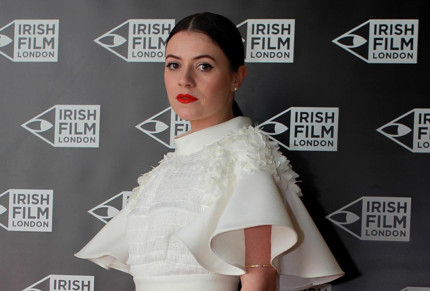 Irish actress Gemma Leah Devereux on the red carpet at the Irish Film London Awards 2017