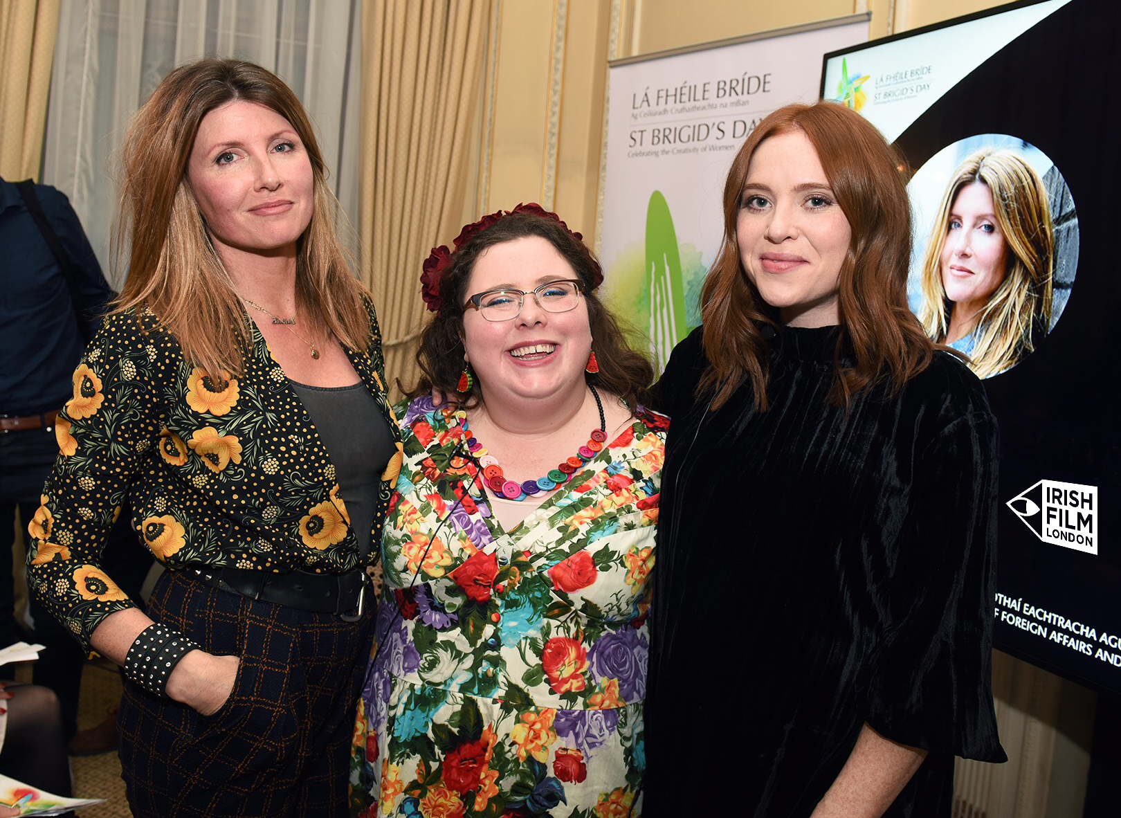 Comedy writers and actors Sharon Horgan and Alison Spittle with TV Presenter Angela Scanlon at the St Brigids Day event at the Embassy of Ireland GB, 2018.