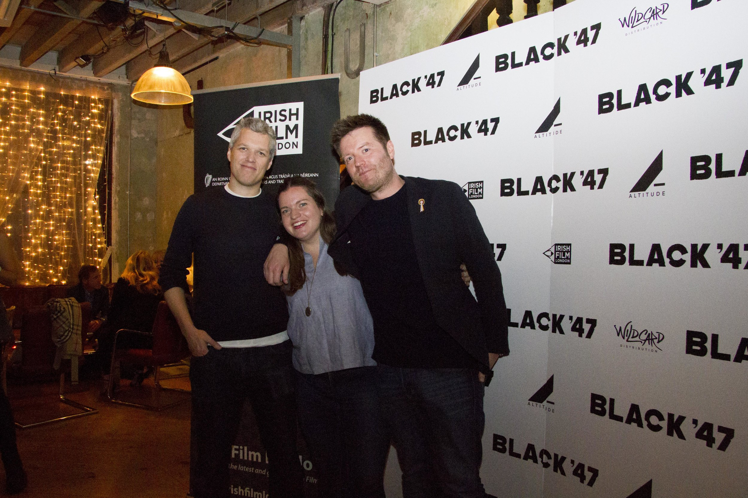 Black 47 London Premiere 2018 Photos courtesy of Noel Mullen Irish Film London 56 Mark Jones and Sile Culley from Altitude and Johnny Carr from Vue Cinemas.jpg