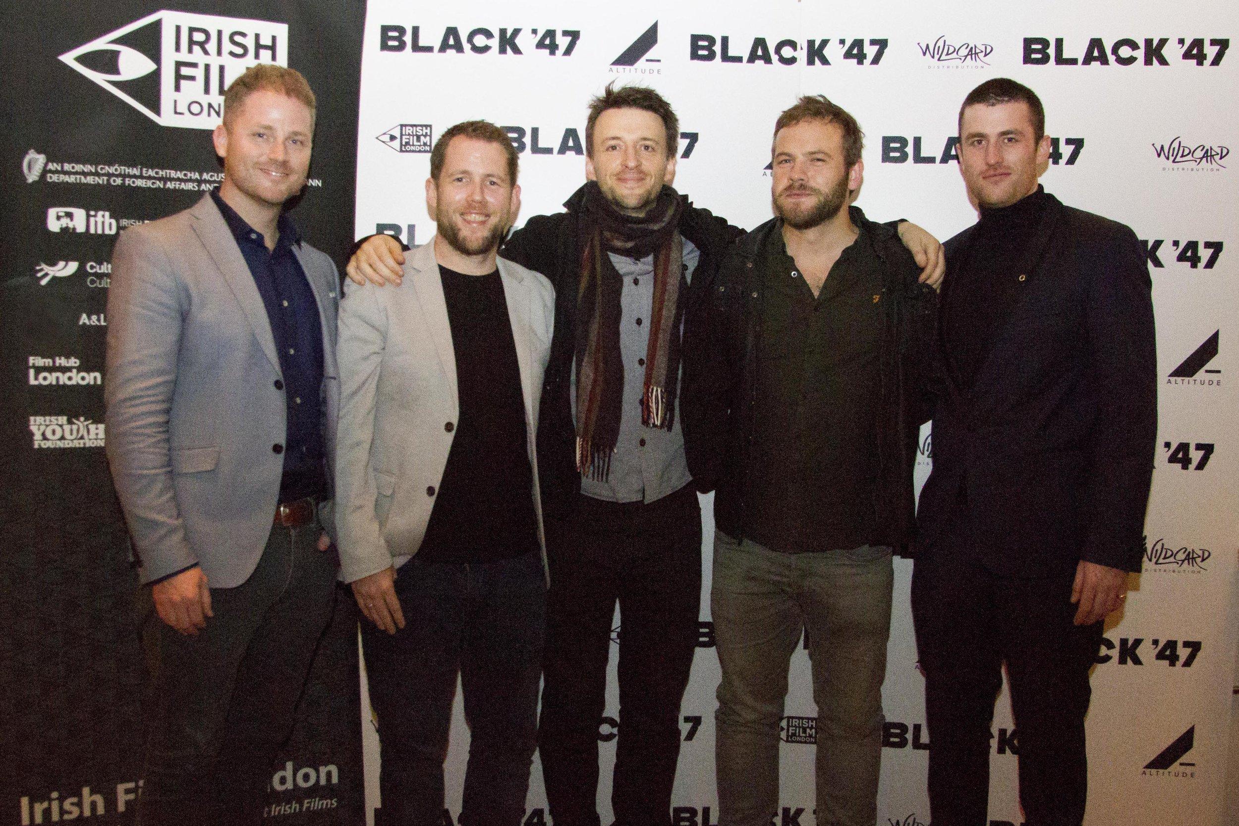 Black 47 London Premiere 2018 Photos courtesy of Noel Mullen Irish Film London 72 Jonathan Loughran Macdara Kelleher Lance Daly Moe Dunford and James Frecheville.jpg