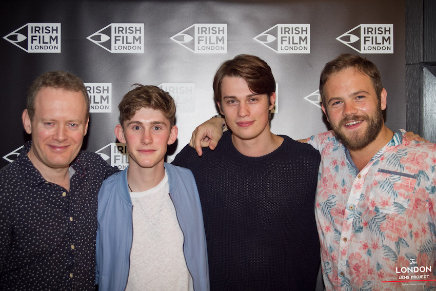 Irish Film Festival London patron Moe Dunford at the IFL  Handsome Devil  screening in London with author Matthew Todd, and co-stars Fionn O'Shea and Nick Galitzine