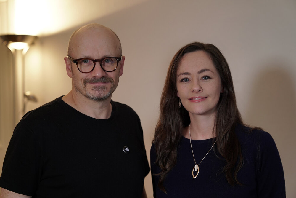 Lenny Abrahamson and Irish Film London Founder Kelly O'Connor at Element Pictures, Dublin, 2019