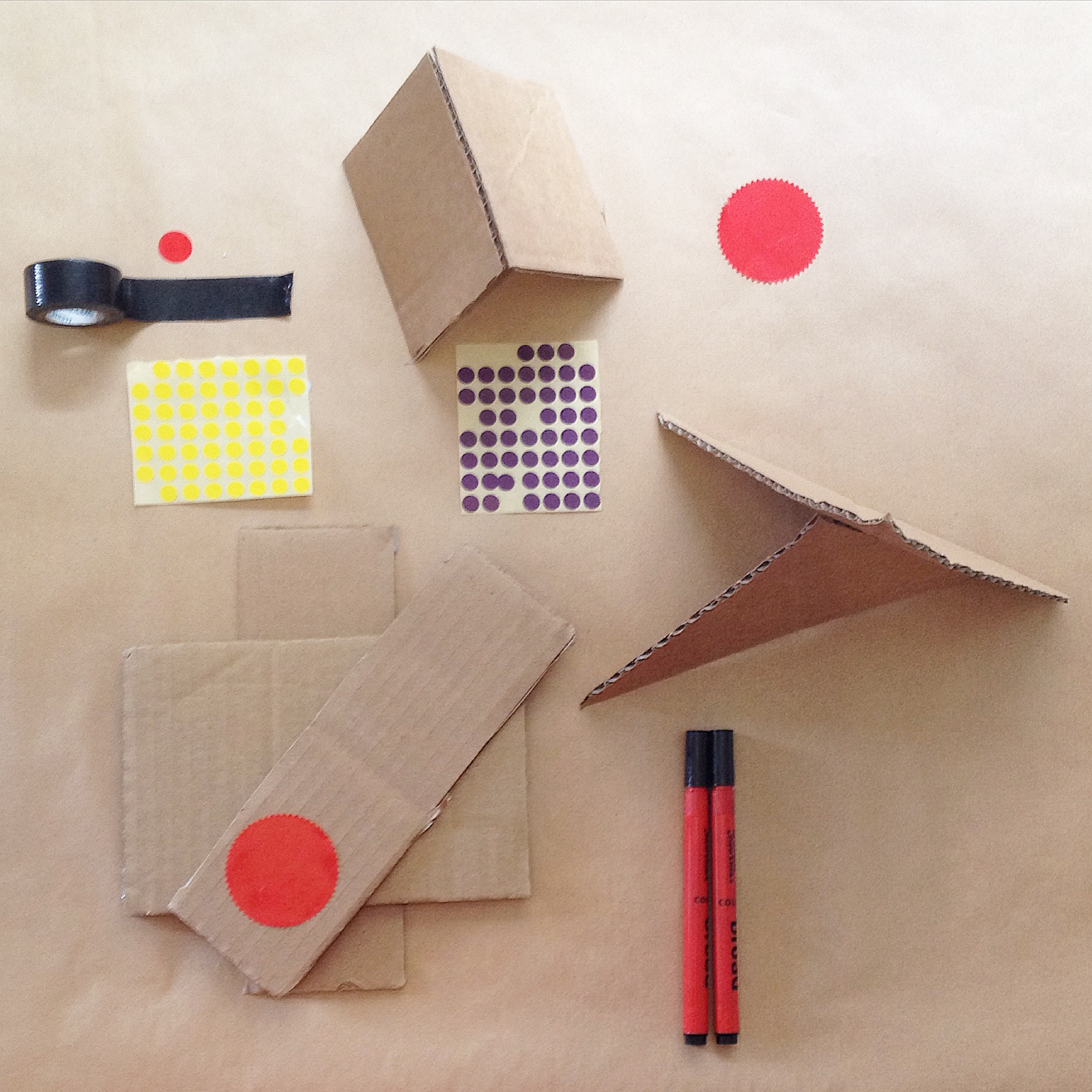 2. Cardboard, tape, stickers, pens.JPG