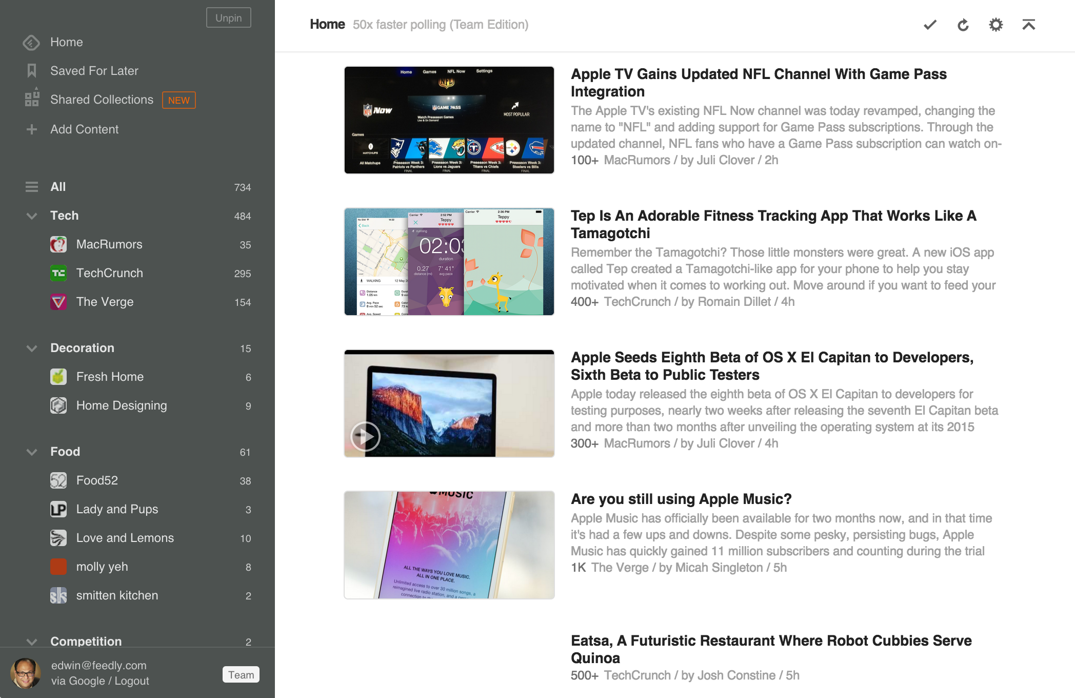 LAYOUT OF THE  FEEDLY  APP