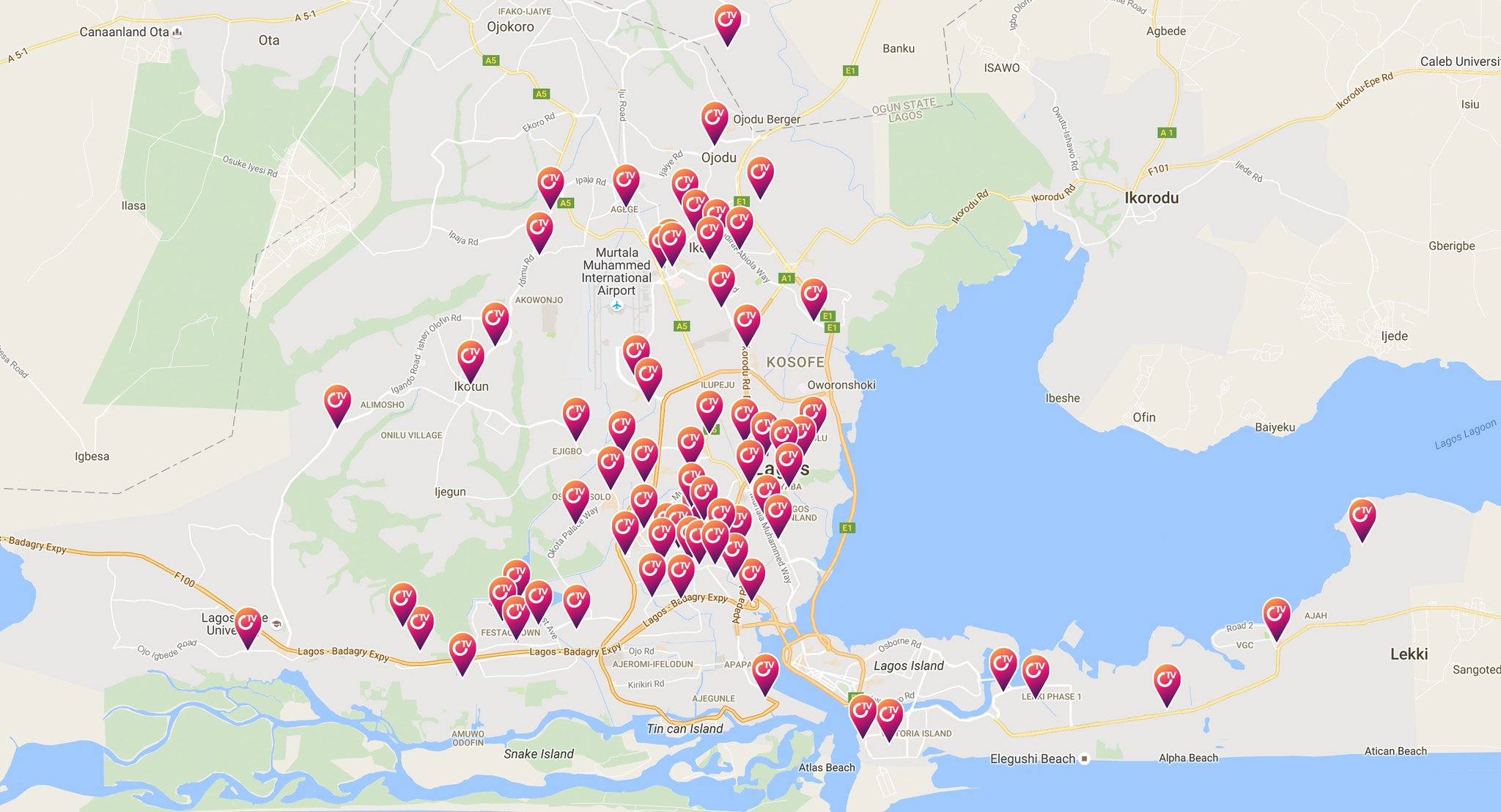 Map Showing iRoko Kiosk Locations in Lagos// Source: https://medium.com/@jasonnjoku/