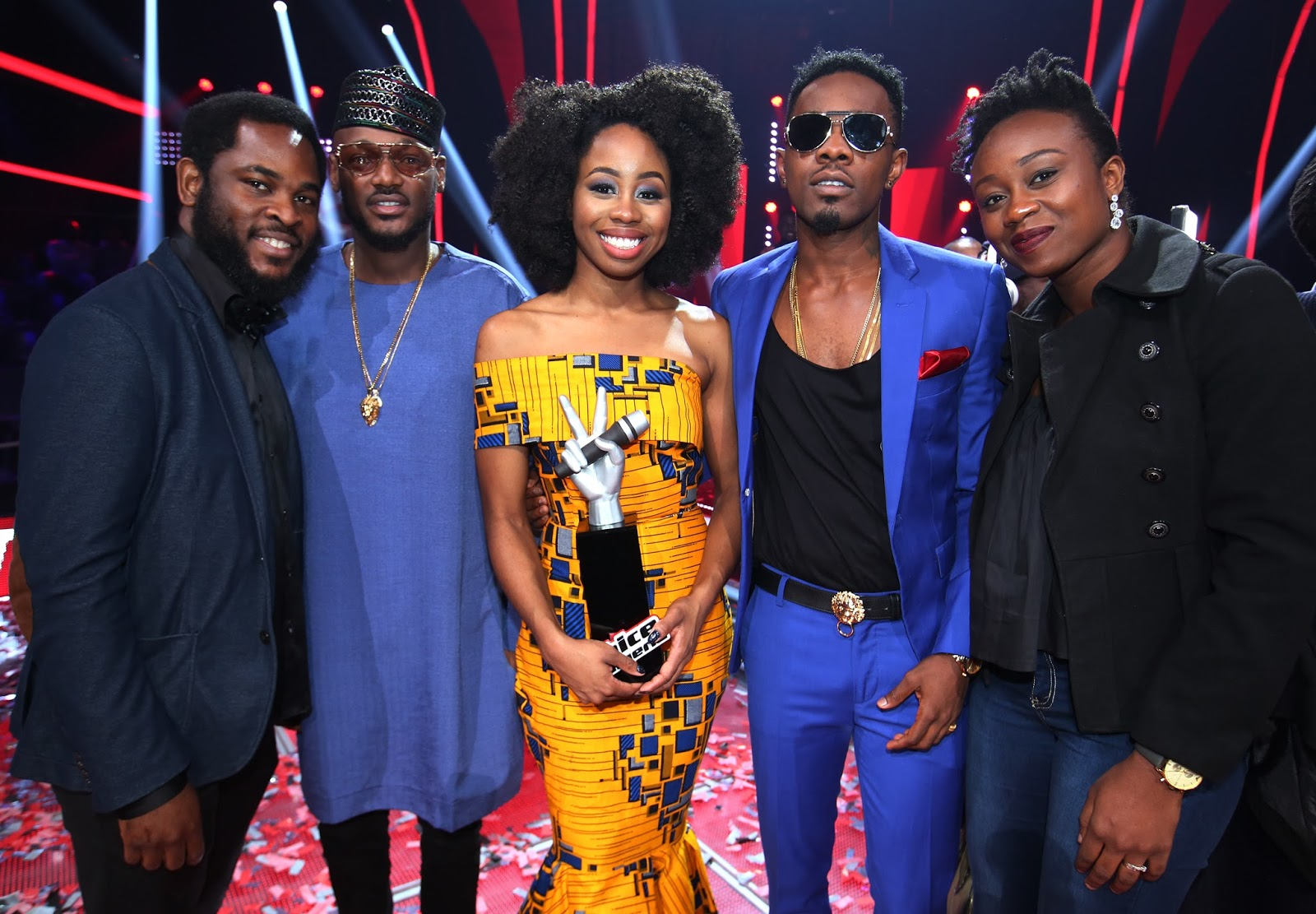 Vice President, Brands and Advertising, Airtel Nigeria, Enitan Denloye; Airtel Smart Icon and The Voice Nigeria Coach, Tuface Idibia; Winner of The Voice,  Agharese Emokpa  aka Arese