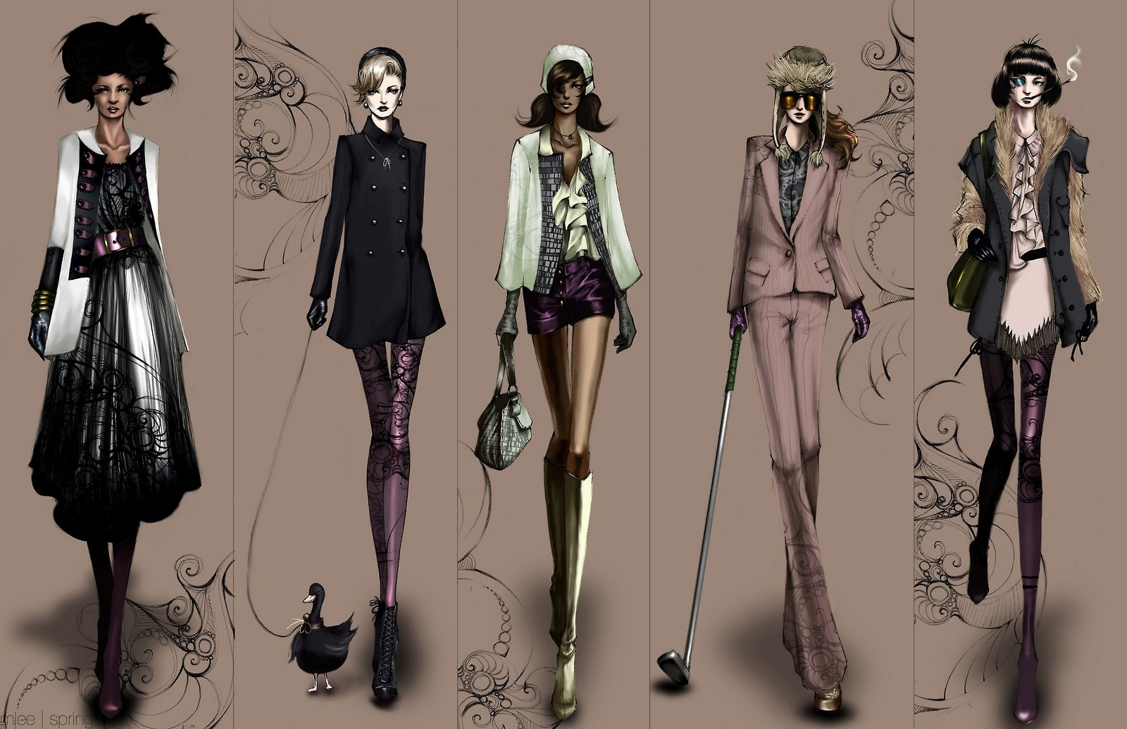 Fashion illustration of Contemporary Women