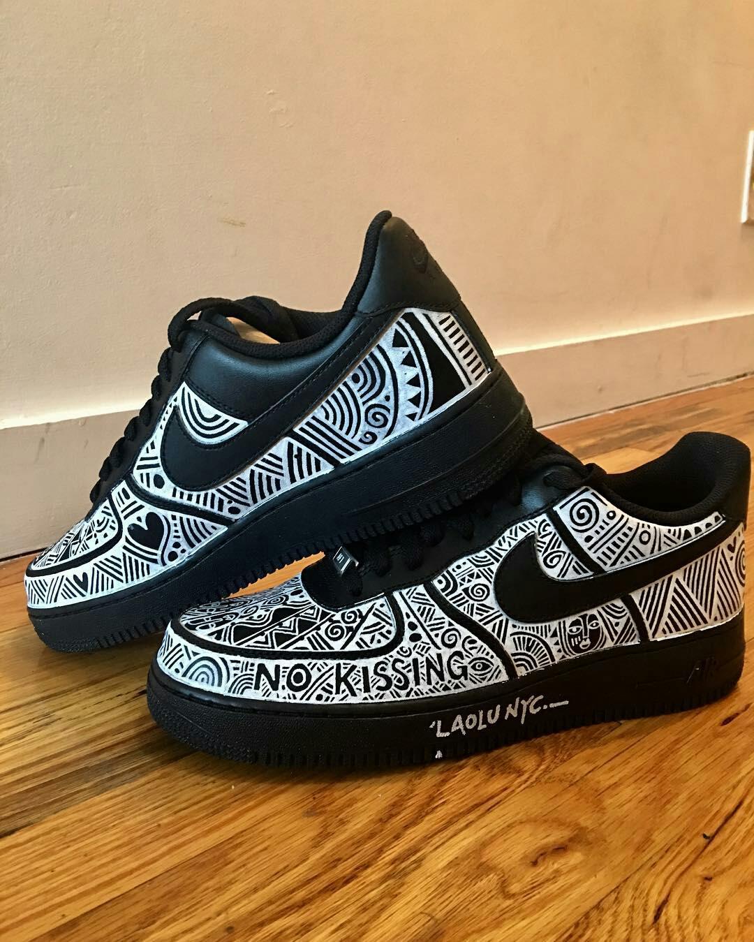 Laolu's work on a pair of Nike sneakers