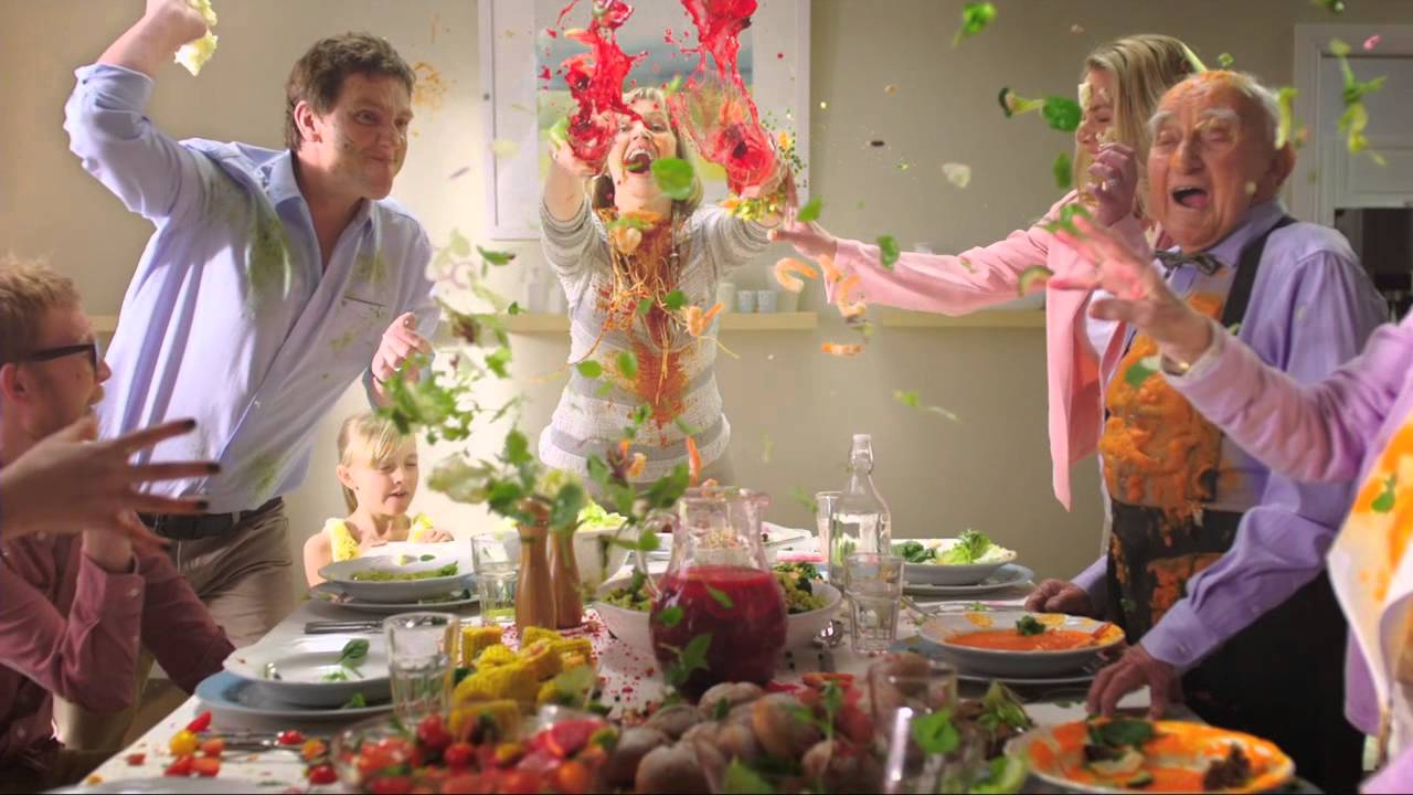 Samsung food fight commercial / Photo via youtube