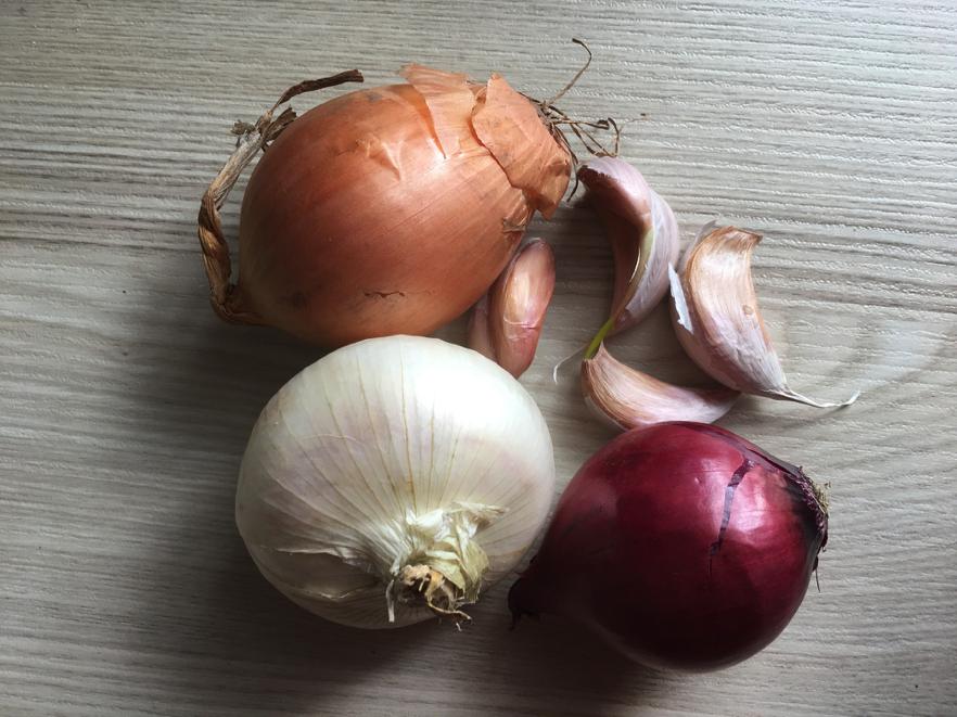 prebiotic rich foods. Onion, garlic