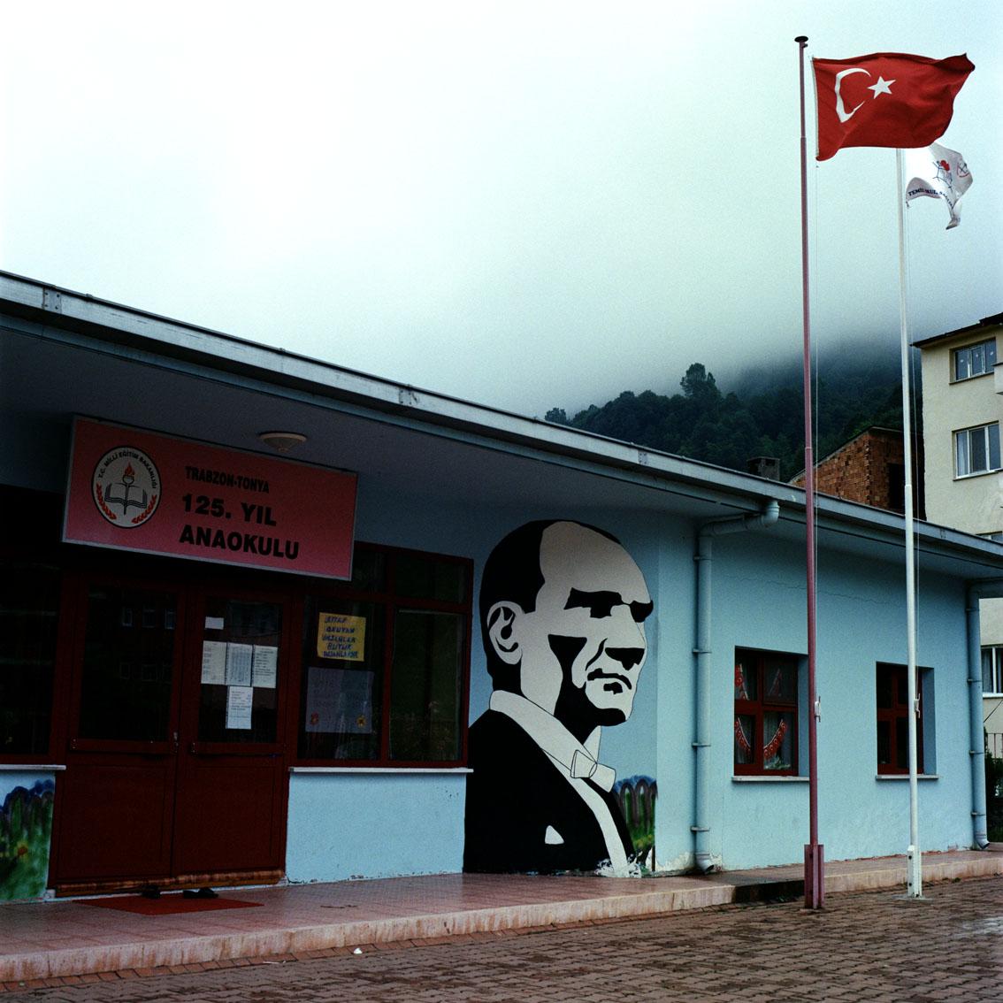 Mural on a school in the Black Sea town of Tonya in Turkey