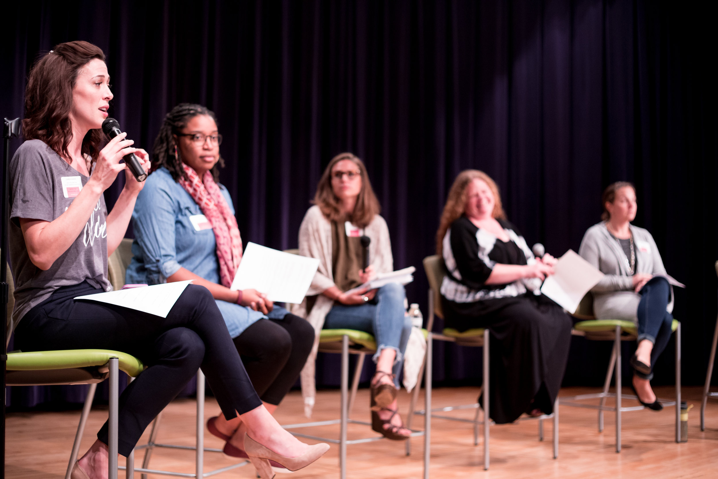 Panel Discussion with Brittney George, Kristin Morgan, Amy Rugh LPC, Erin Baird CNM, and Candy Beers-Kim PSS.© Christi Stafford Photography