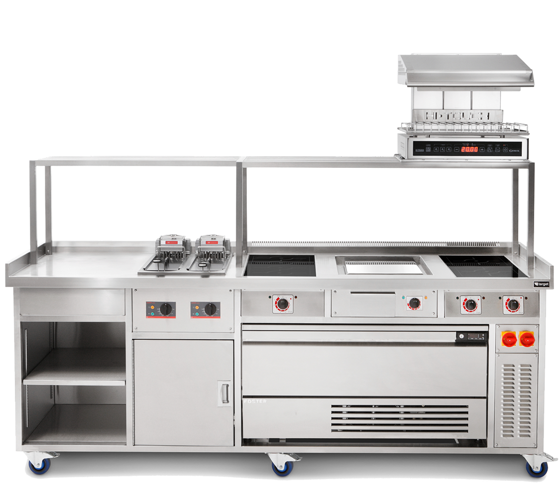 professional induction cooking range