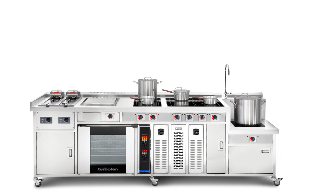 commercial induction range cooker with stock pot boiler