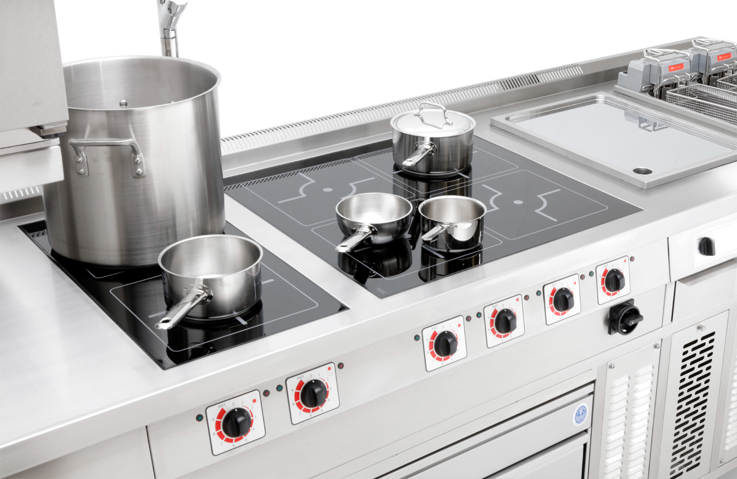 Commercial Induction Ranges - Standard and bespoke quality commercial induction range cookers designed and manufactured in the UK at Target's factory based in Gloucester.