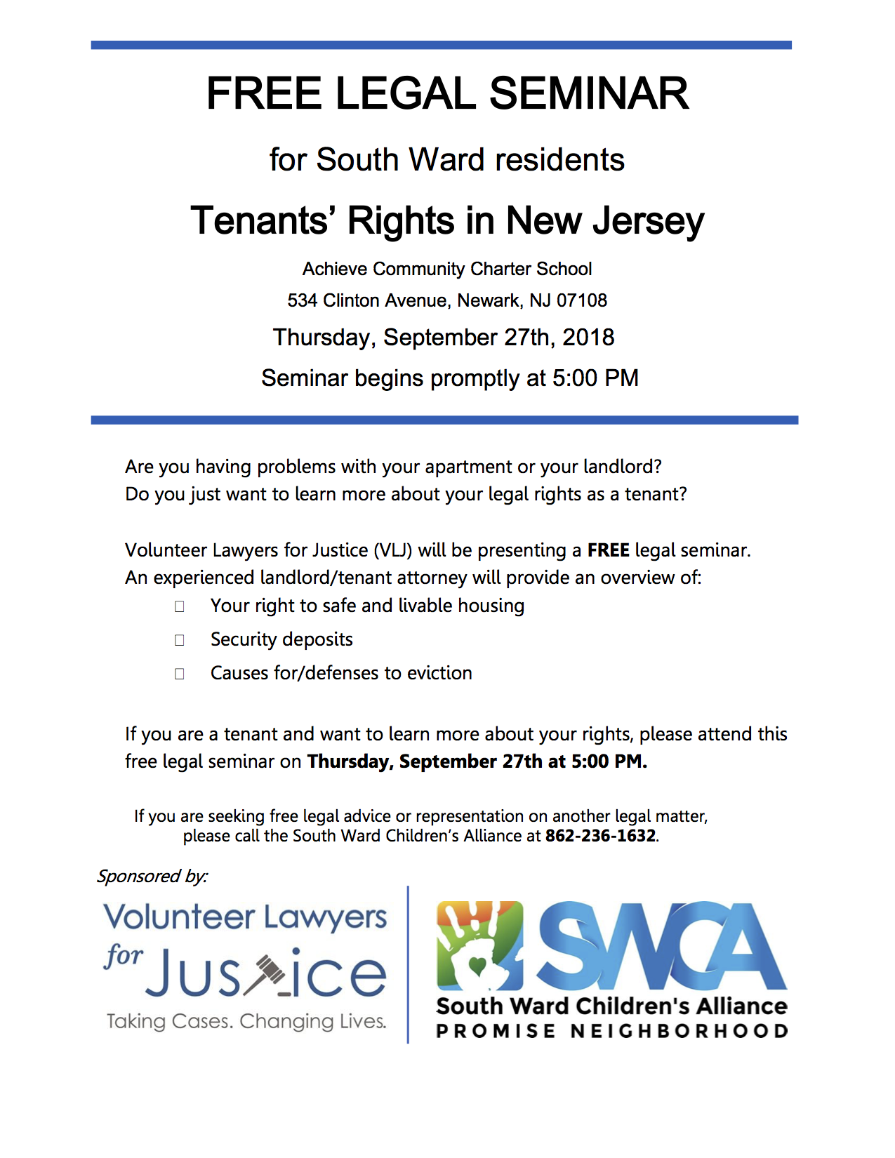 Join VLJ for a Know Your Rights Seminar for Tenants