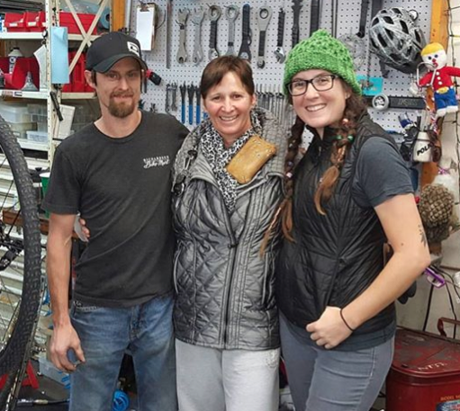 Barry and Theresa before they headed out to North Carolina with bikes, dogs and even a kayak in tow. (and the one-and-only Miss Kim Chance in the middle, who drove with another racer to North Carolina)