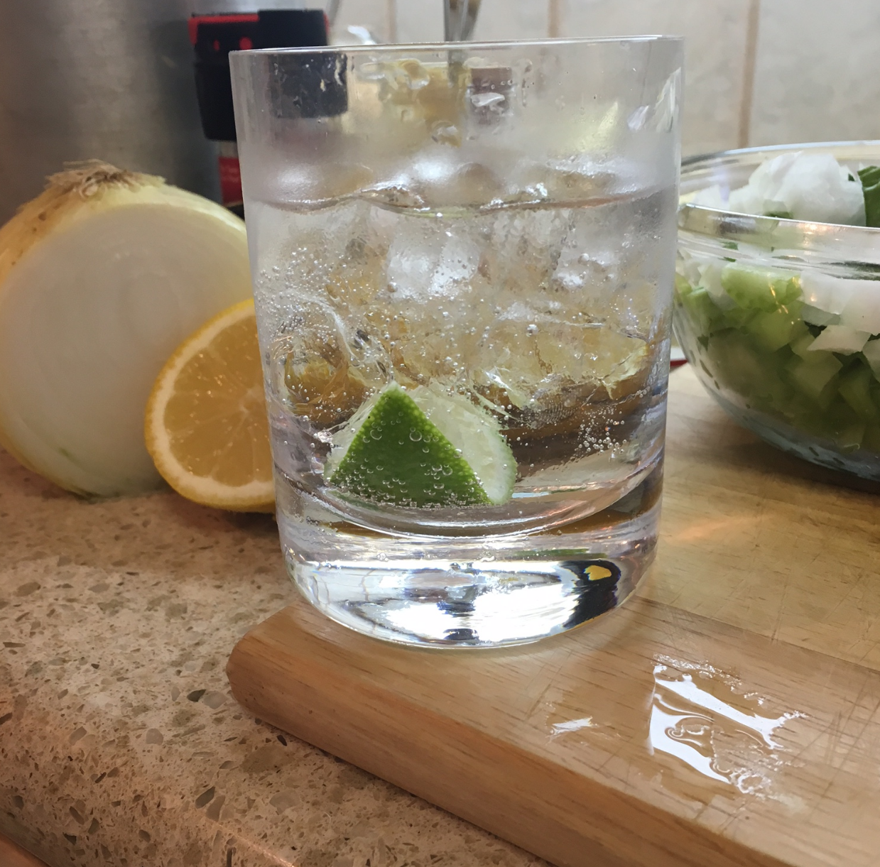 Of course, there may have been some drinking involved while cooking. A vodka tonic certainly helped pass the time while doing all that chopping!