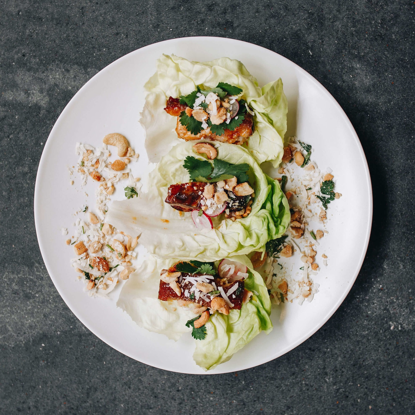 Pork Belly Lettuce Wraps - with crushed coconut cashews