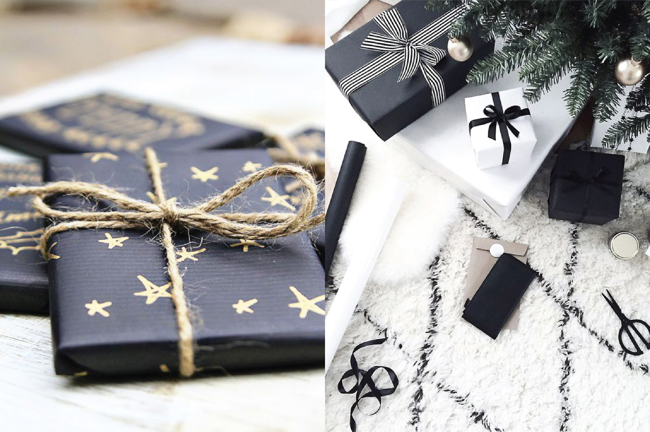 Black Gift Wrapping DIY Scandinavian Christmas