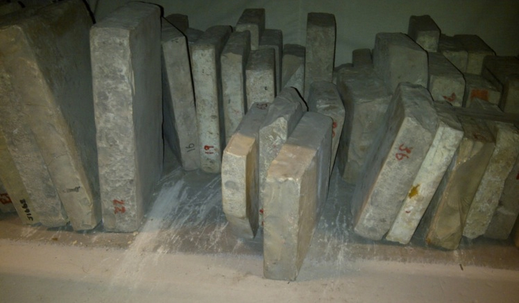 The original lithographic stones found in the stores of the M-Shed in Bristol.