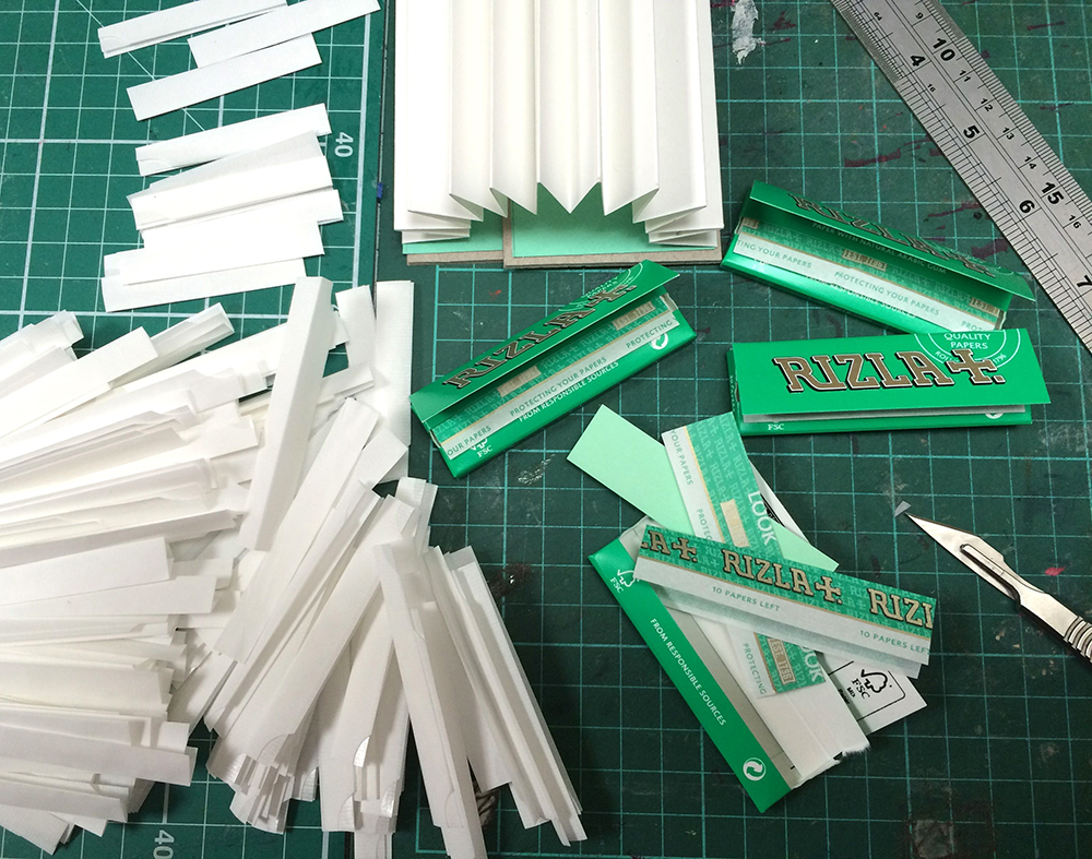 The fiddly job of folding, cutting and sticking 150 rizla papers...