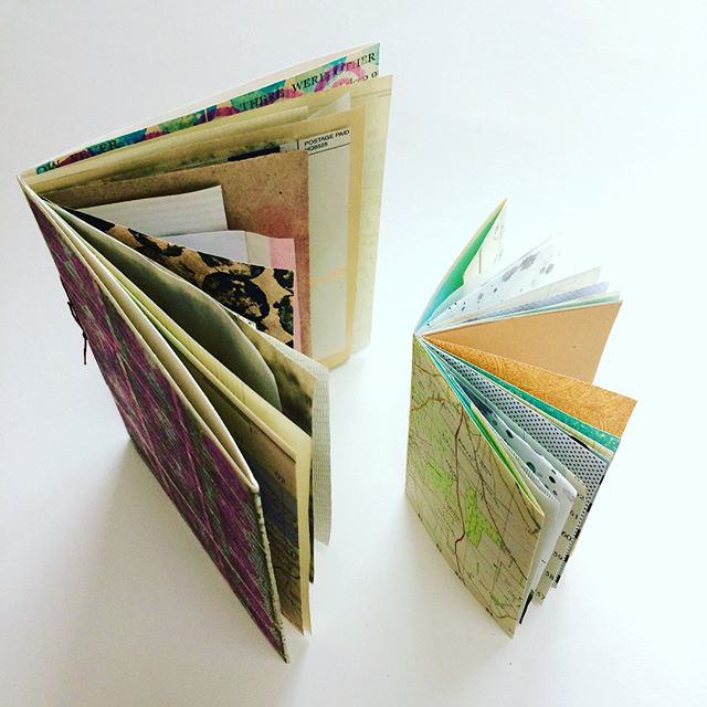 Pamphlet stitch booklets of paper samples.