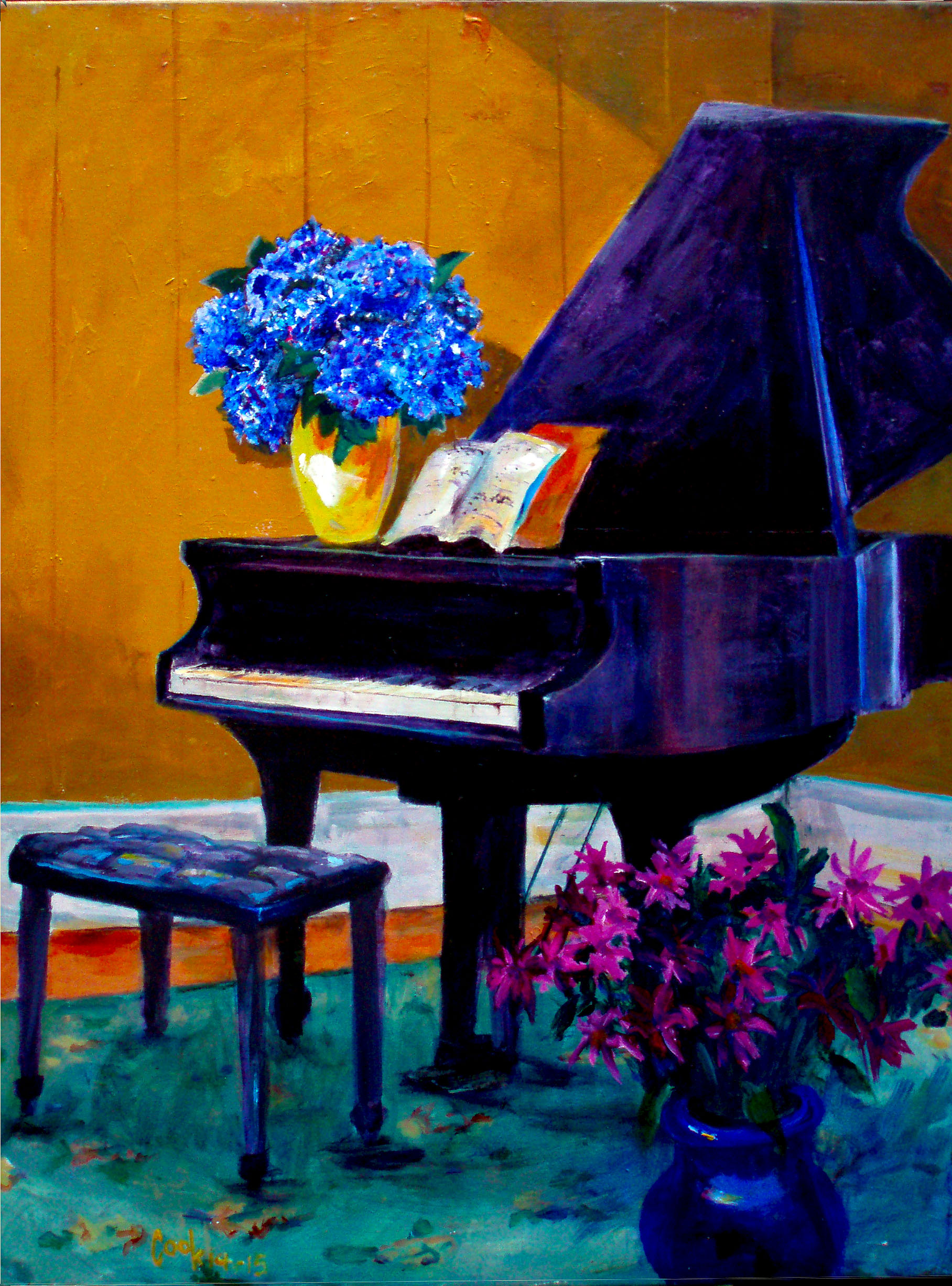 PIANO WITH FLOWERS, $1,500.