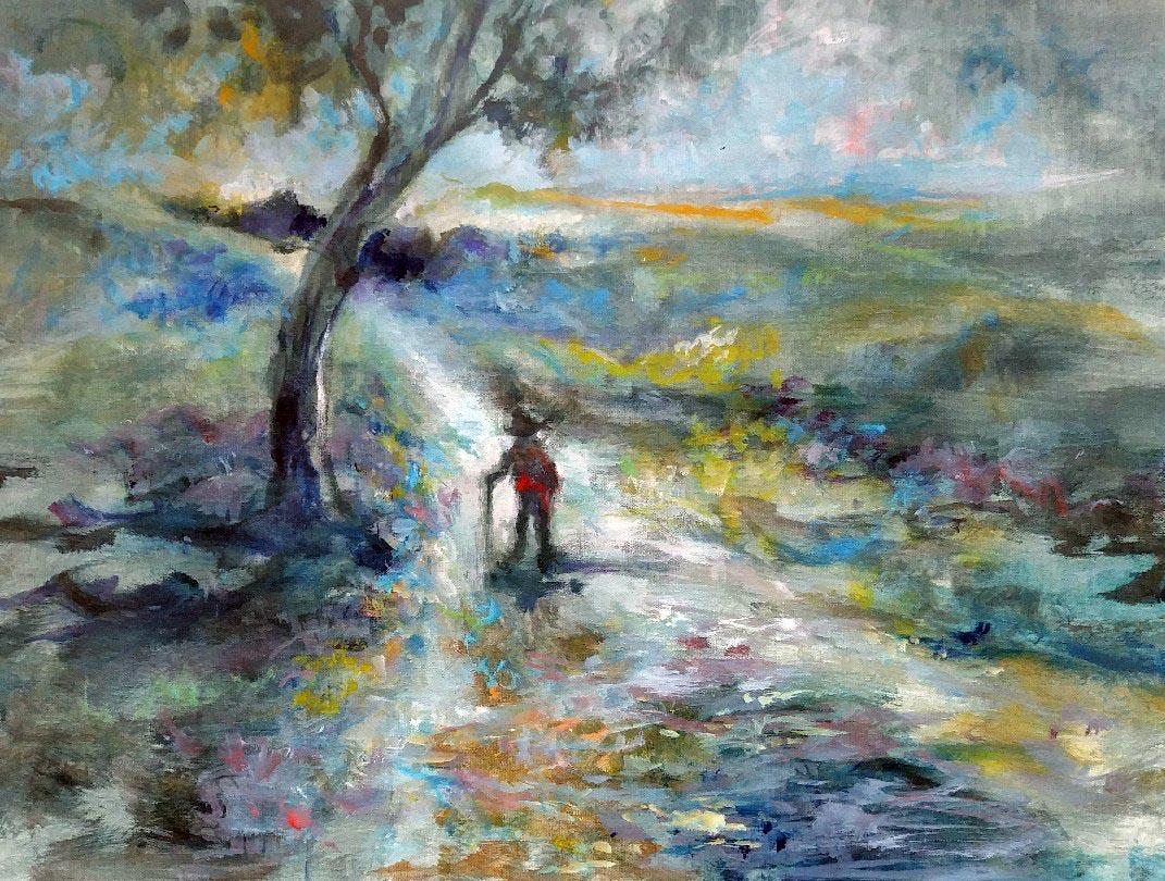 "WALKING MAN #1, acrylic on canvas, 18""X 24"""