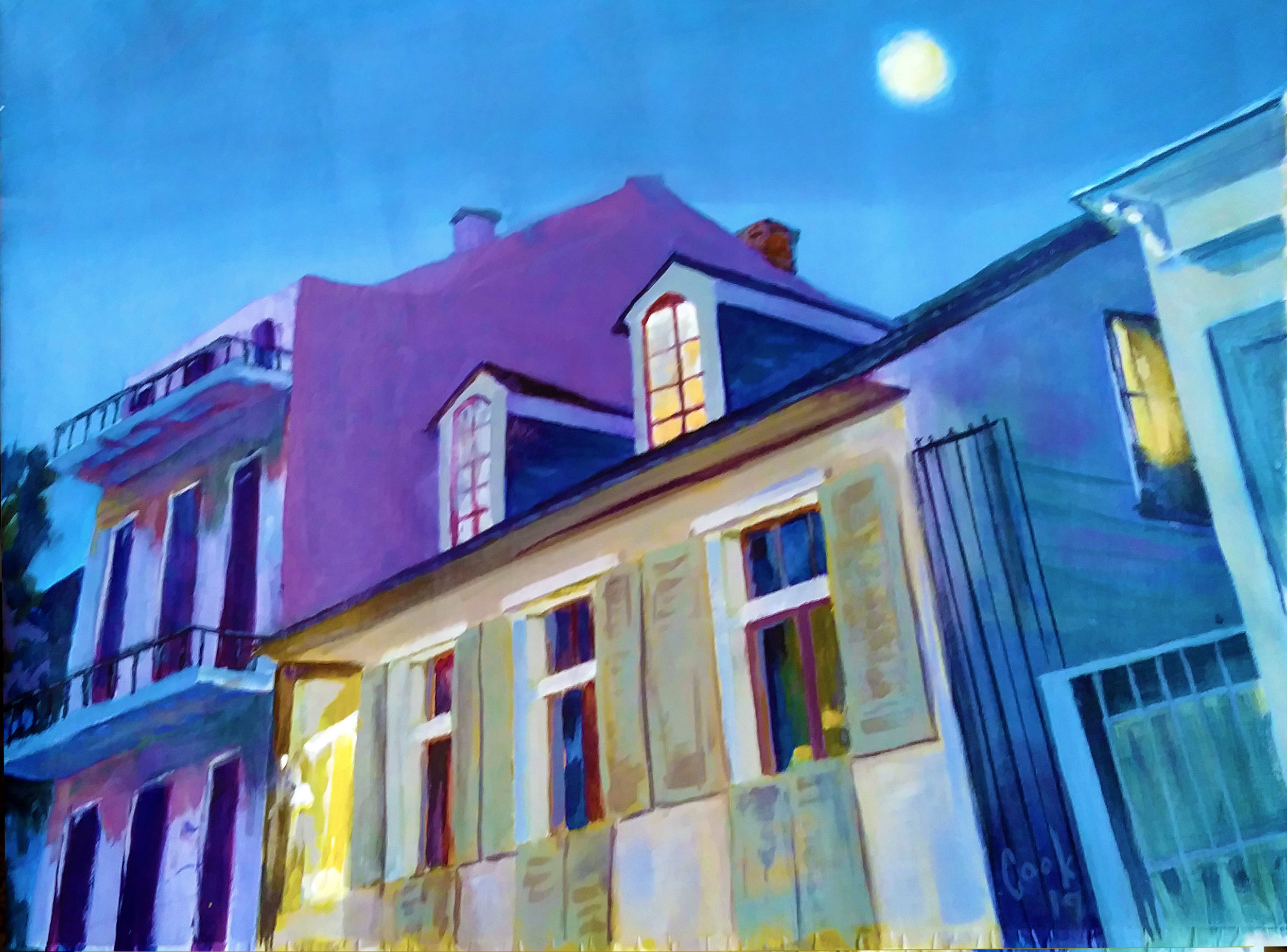 "MOON OVER THE FRENCH QUARTER, acrylic on canvas, 30"" X 40"""