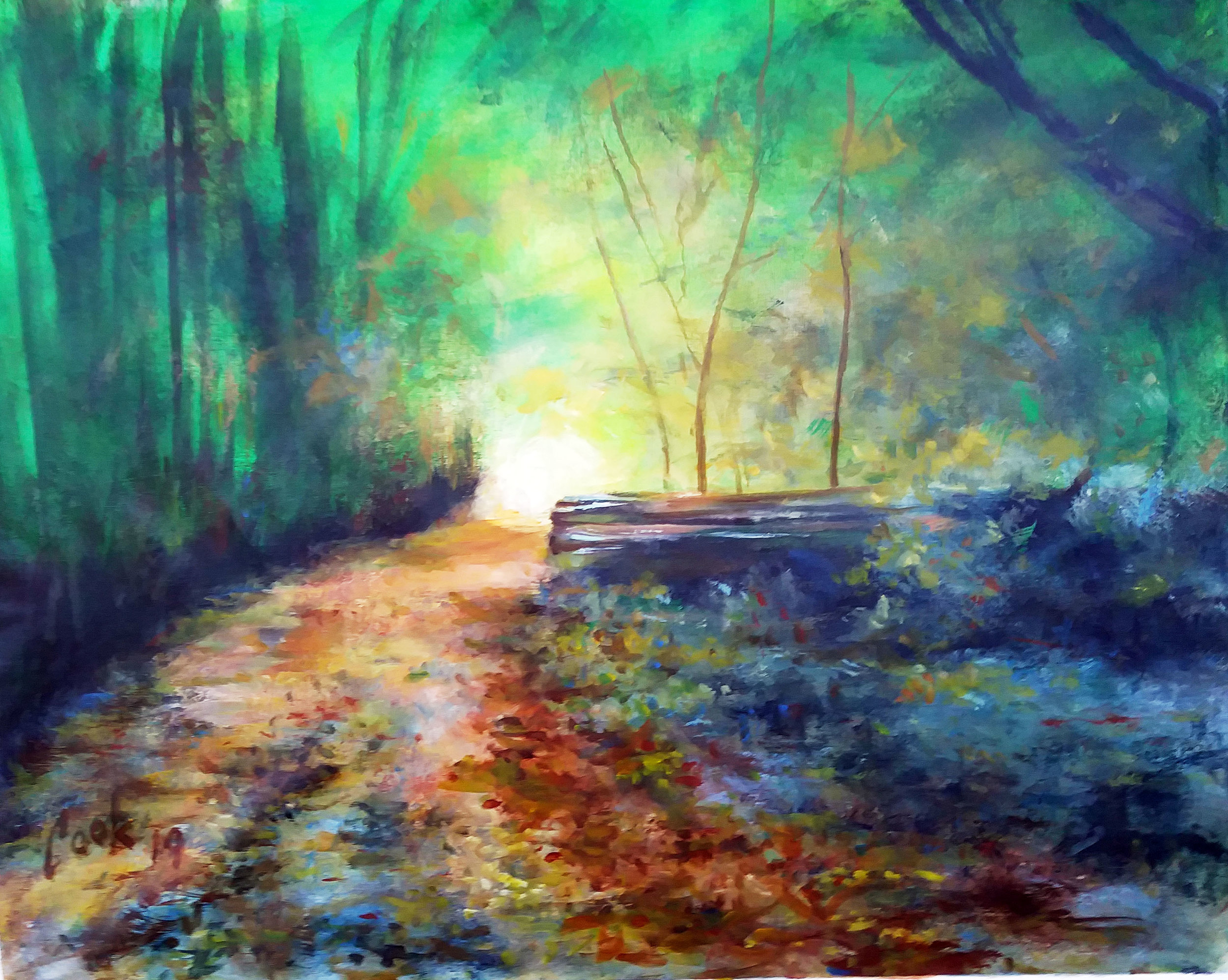 "A WALK ALONG THE PATH, acrylic on canvas,  24"" X 30"""