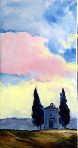 "CHAPEL ON THE HILL, acrylic on canvas, 24"" X 48"""
