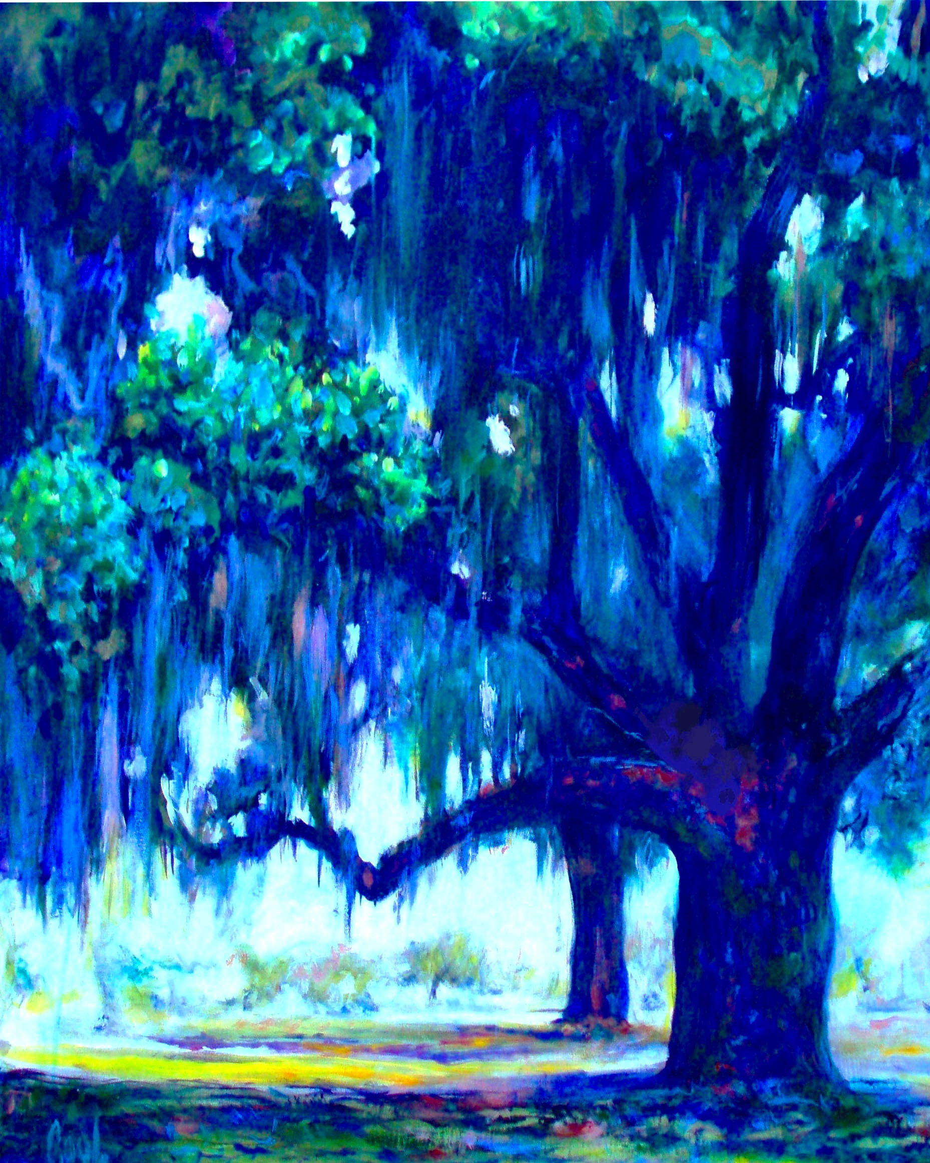 "PURPLE OAKS, acrylic on convas, 30"" X 40"""