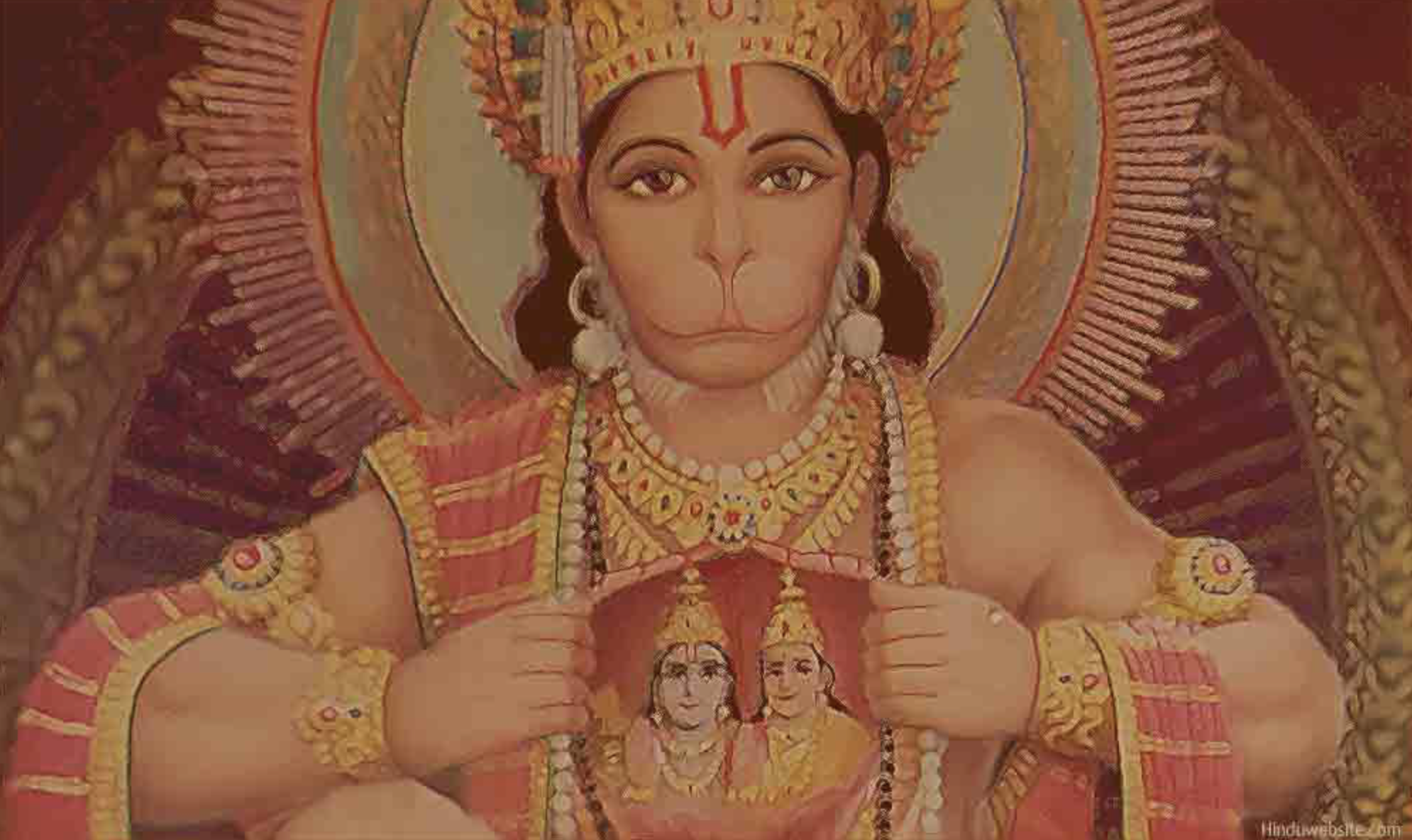 An image of Lord Hanuman, the Monkey God, on  Hinduwebsite.com . This image is a reminder to each of us to open up our own hearts to see what's in it that we most revere, and figure out how we can be of service to it by using the talents we've been gifted with.