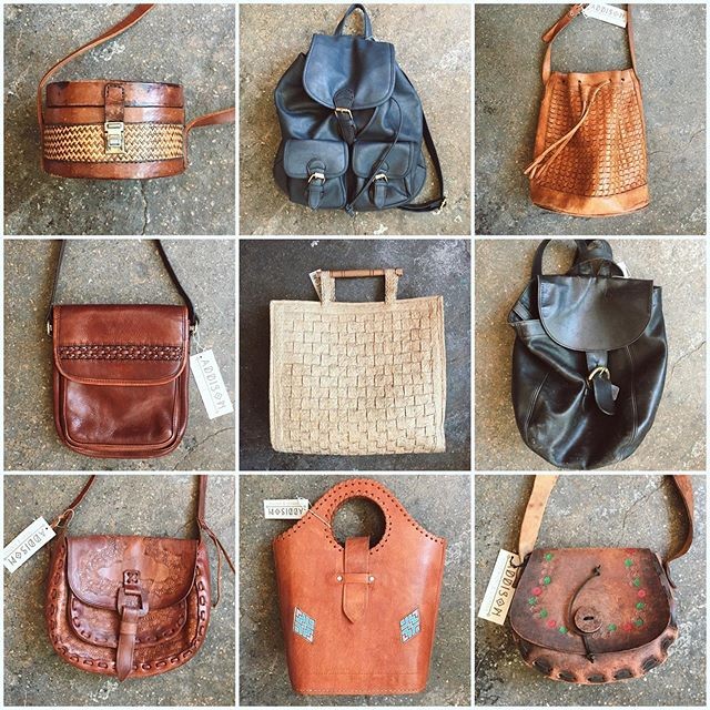 A few of the vintage bags we have available at the moment including one of my favorites, a killller black vintage Coach backpack.
