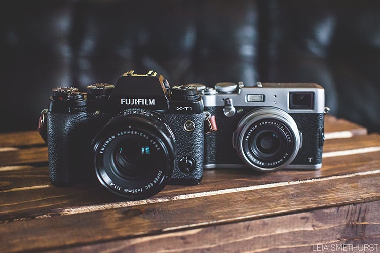 Fuji X-T1 with 35mm attached, Fuji X100t