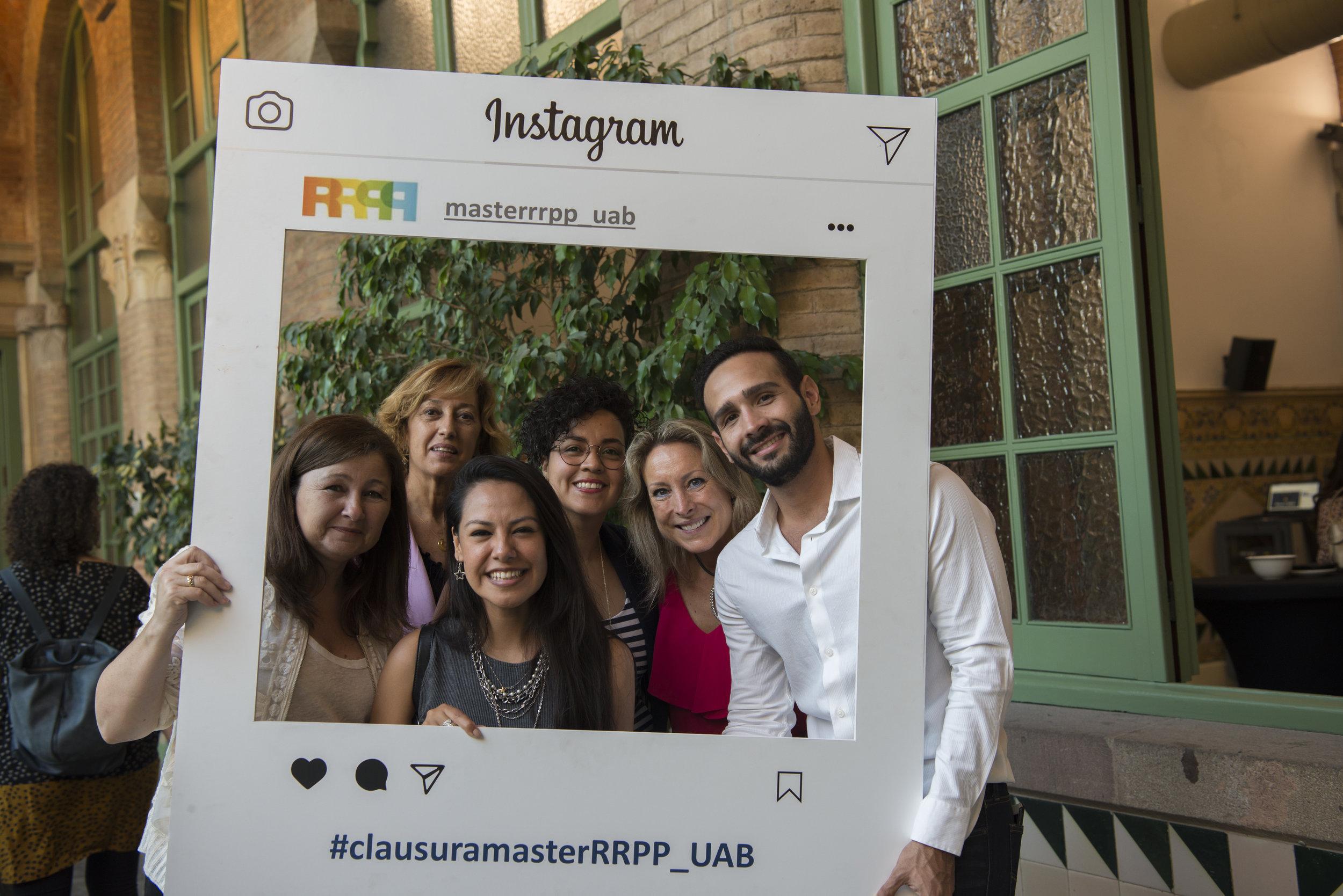 Left to right: Maite Llopis - CEO de 1990 MCS; Ana Ullod - Dra. Master RRPP; Lorena Sanchez (classmate), Viviana Moran (me), Ivonne Dalmases - Masters Coordinator and José Sosa (classmate)