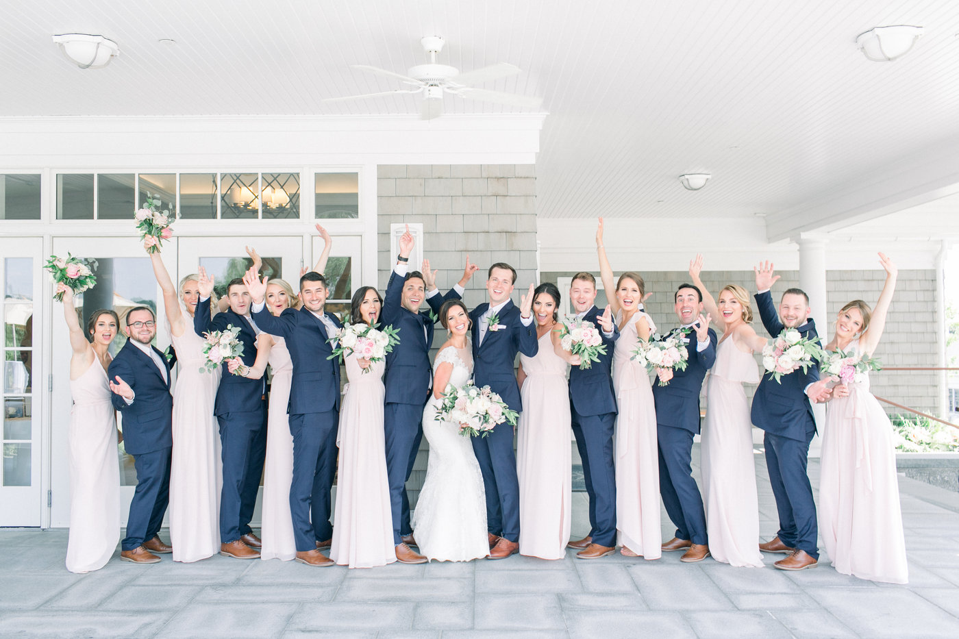 Shorehaven Golf Club wedding bridal party brideamaids groomsmen bouquets blush navy roses peonies.jpg