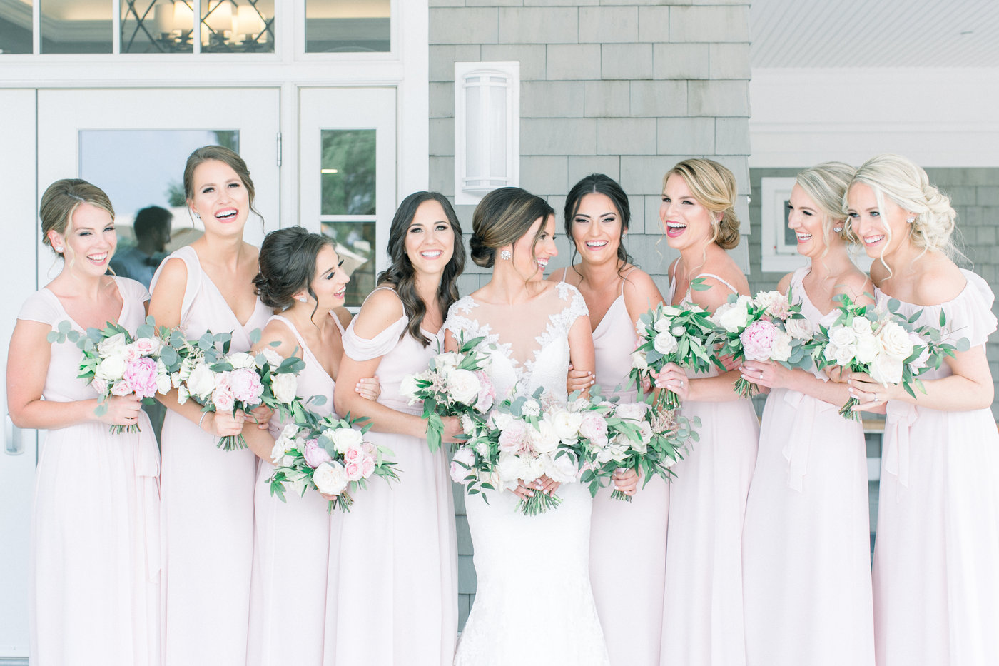 Shorehaven Golf Club wedding bridal party bridesmaids bouquets peonies blush garden roses.jpg
