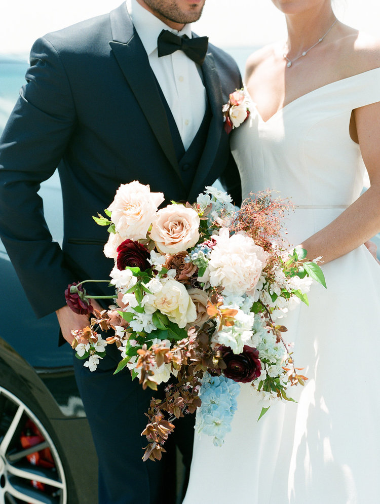 Wedding bride groom bridal bouquet blush maroon blue peonies roses.jpg